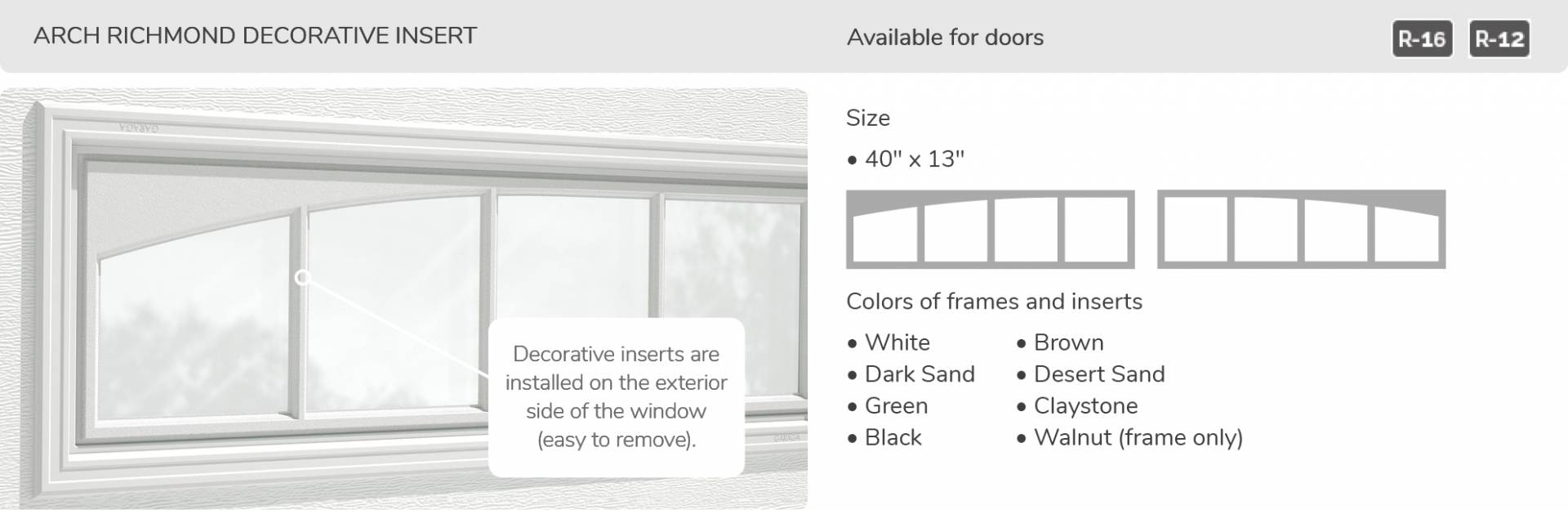 Arch Richmond Decorative Insert, 40' x 13', available for doors R-16 and R-12