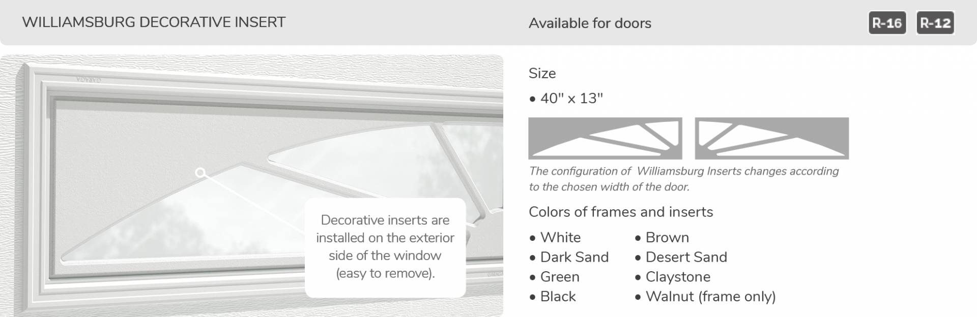 Williamsburg Decorative Insert, 40' x 13', available for doors R-16 and R-12